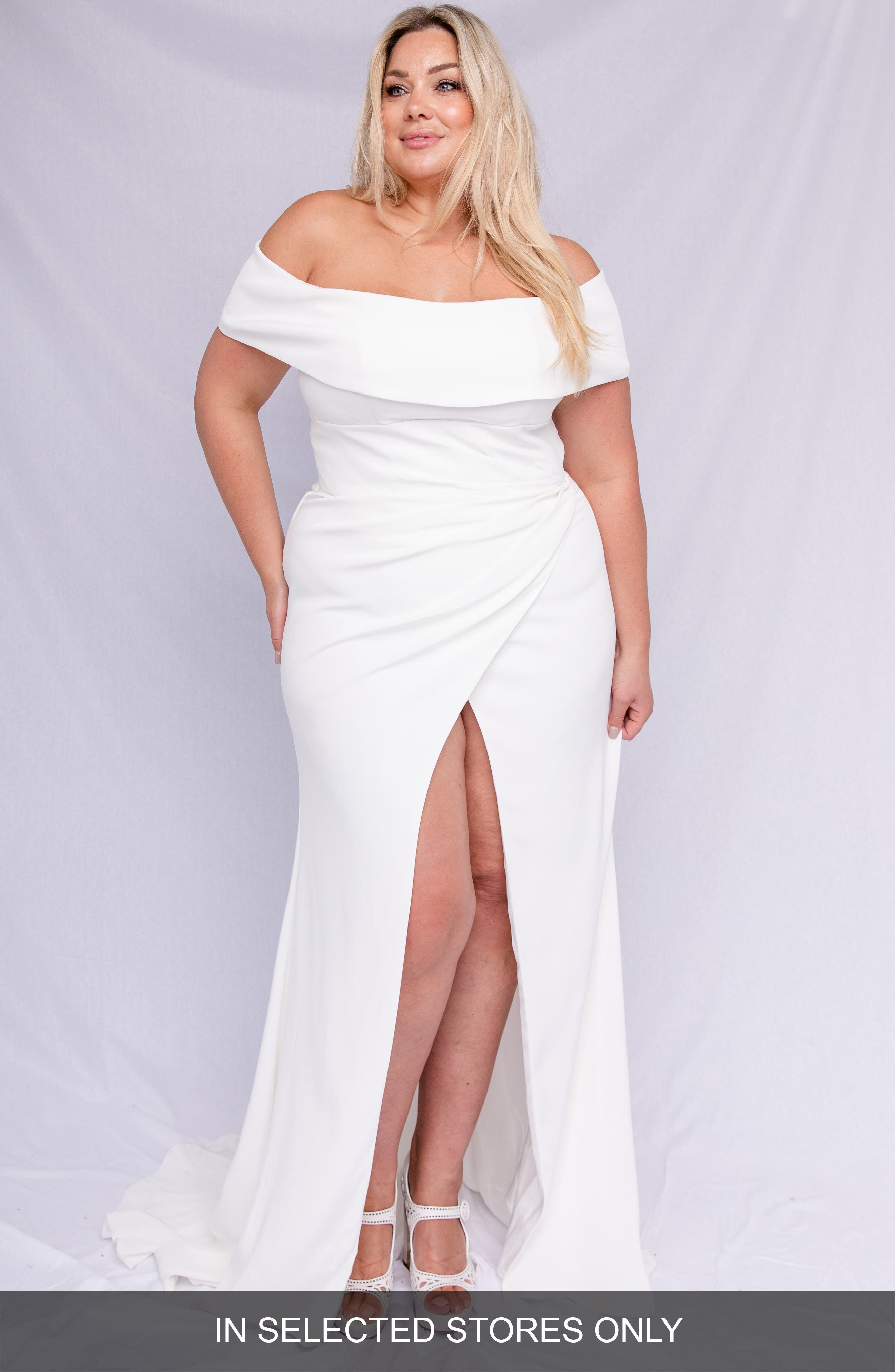 plus size women's chosen by one day lena off the shoulder wedding dress