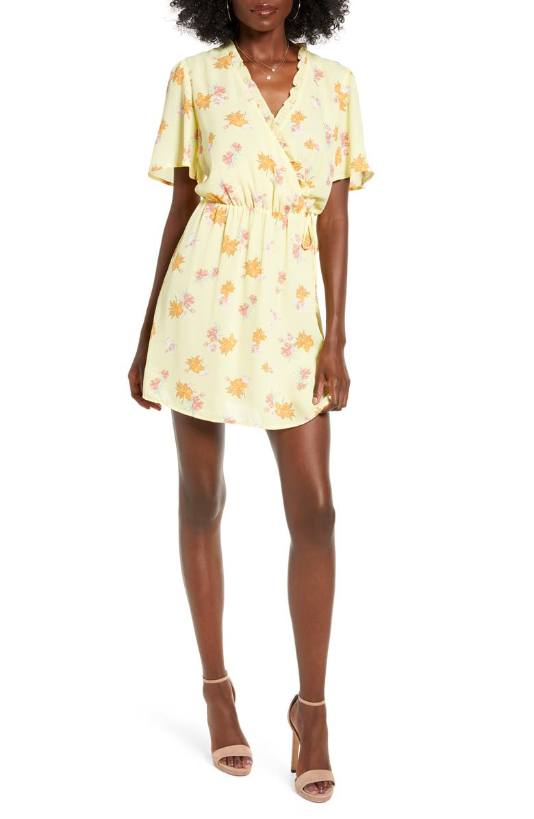 ALL IN FAVOR Ruffle Wrap Dress, Main, color, LEMON FLORAL