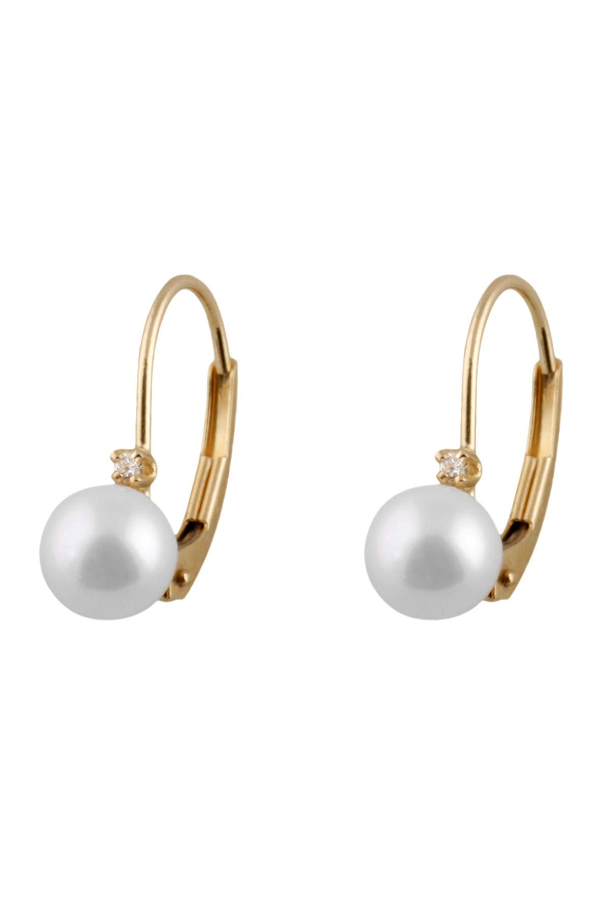 Image of Splendid Pearls 14K Yellow Gold 5-5.5mm Akoya Pearl & Diamond Earrings