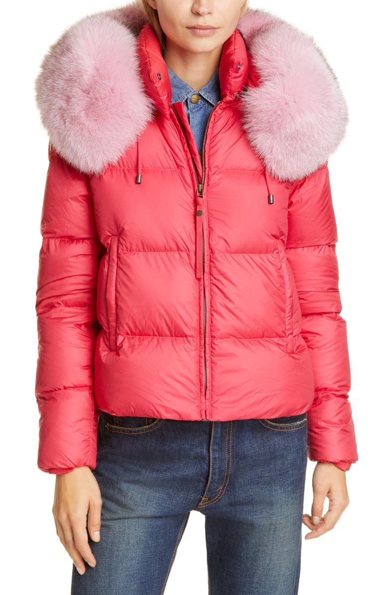 MR & MRS ITALY Quilted Down Puffer Coat with Genuine Fox Fur Trim, Main, color, PINK/ PINK
