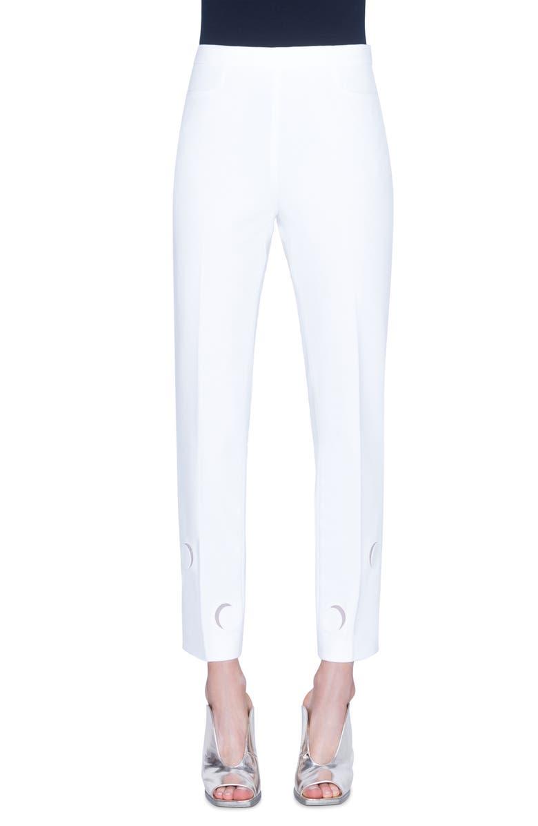 AKRIS PUNTO Franca Tulle Trim Luna Cutout Ankle Pants, Main, color, CREAM