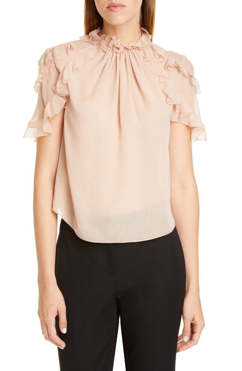 JASON WU COLLECTION Ruffle Trim Silk Chiffon Blouse, Main, color, SOFT PINK