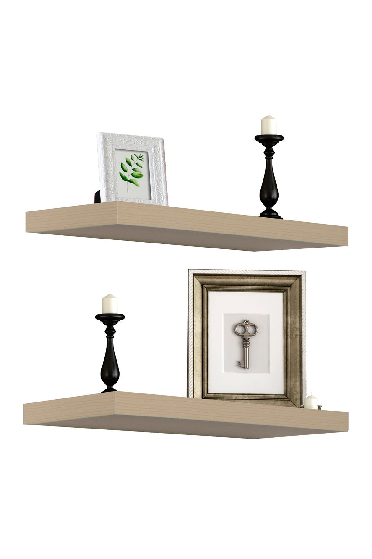 Image of Sorbus Maple Wood Floating Rectangle Wall Shelf - Set of 2