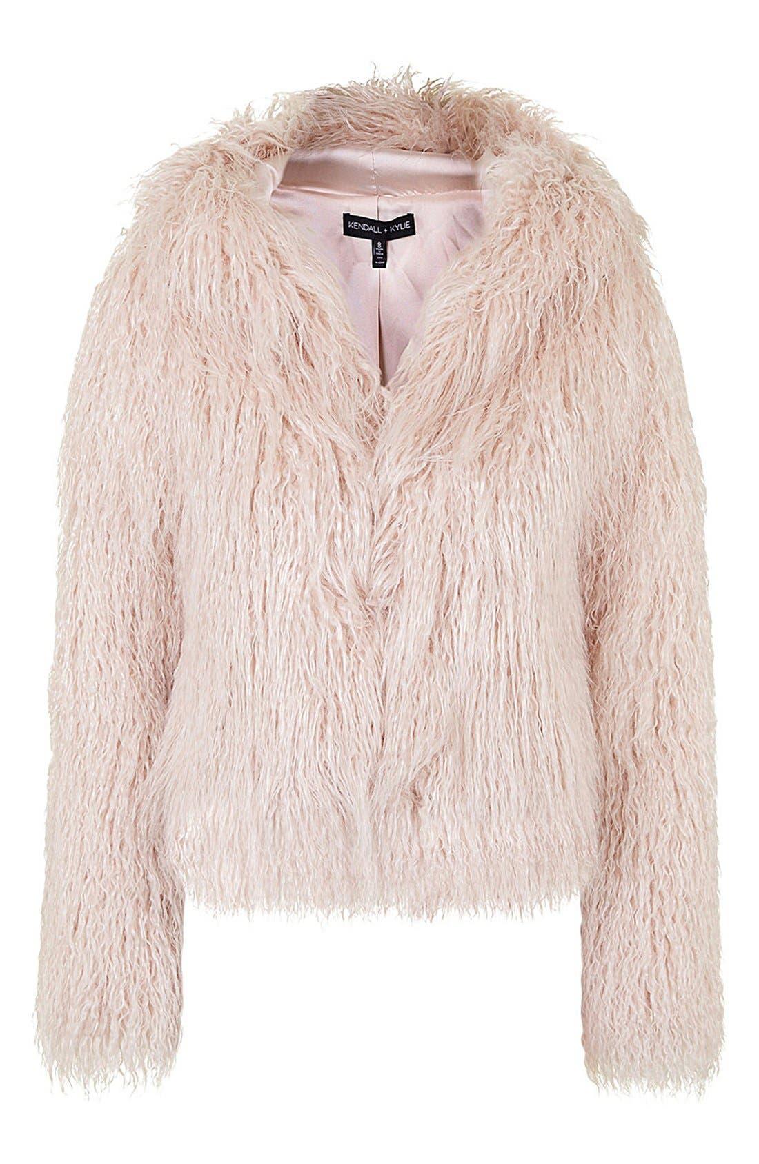 ,                             KENDALL + KYLIE at Topshop Faux Fur Coat,                             Alternate thumbnail 3, color,                             650