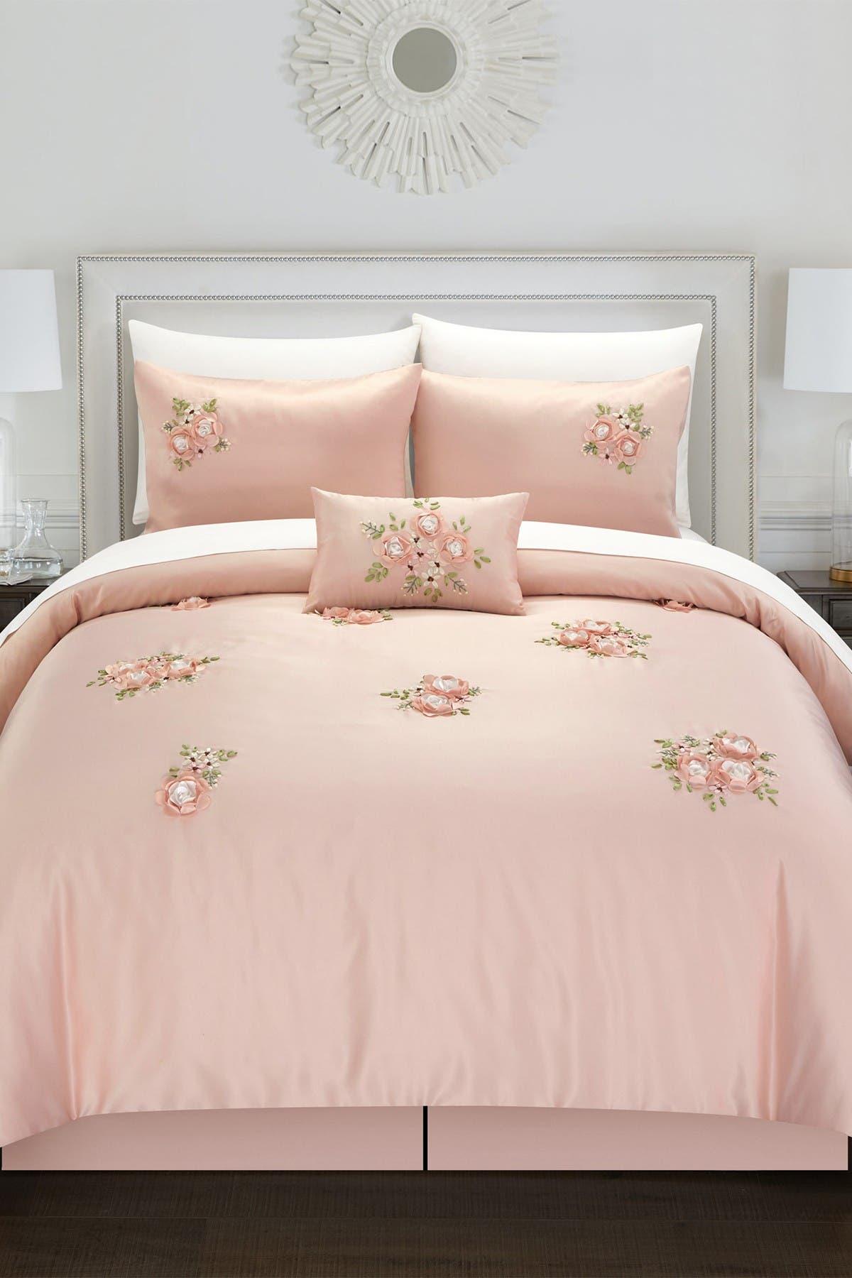 Image of Chic Home Bedding Queen Rossie Comforter 5-Piece Set - Pink