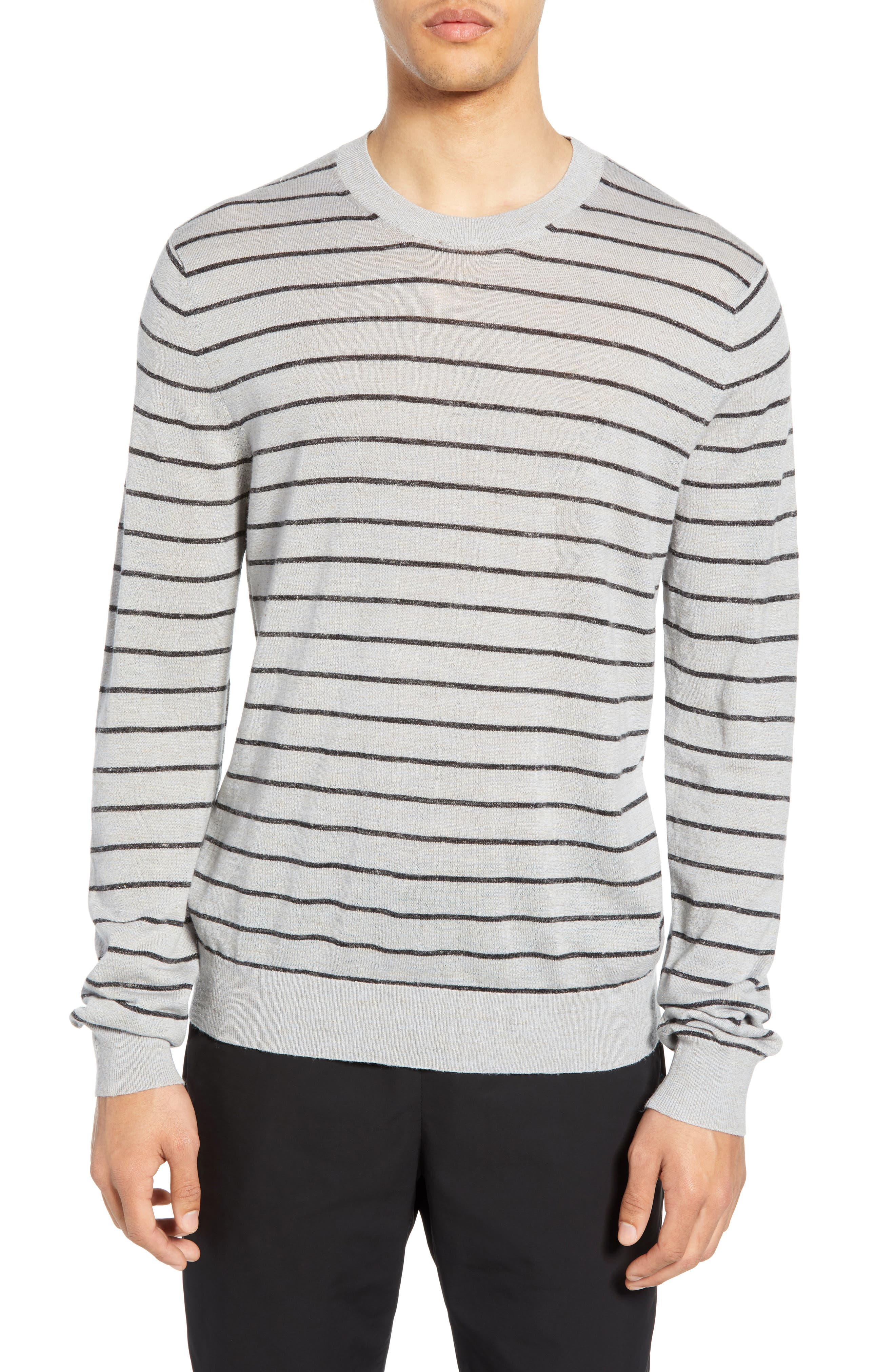 ,                             Stripe Crewneck Wool & Linen Sweater,                             Main thumbnail 1, color,                             HEATHER LIGHT MED GREY/ BLACK
