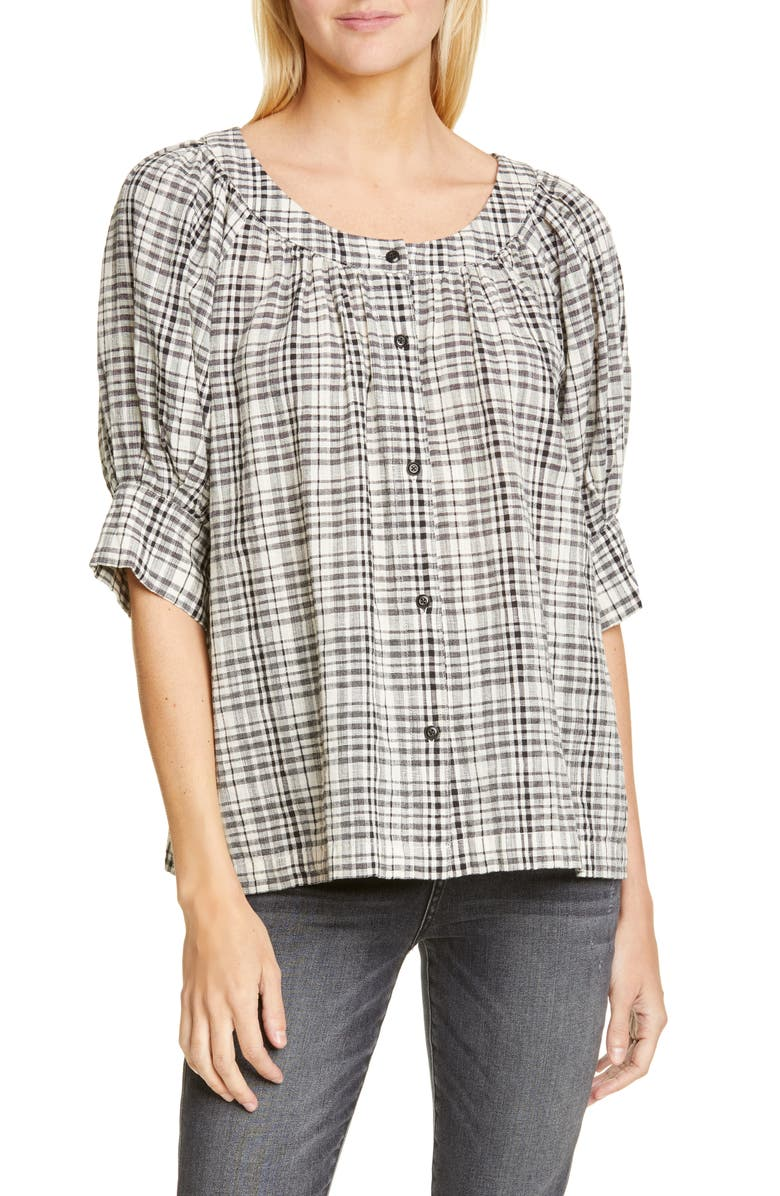 THE GREAT. The Puff Sleeve Button-Up Shirt, Main, color, PATCHWORK PLAID