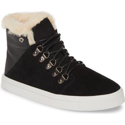 Minnetonka X Lottie Moss Faux Shearling High Top Sneaker, Black