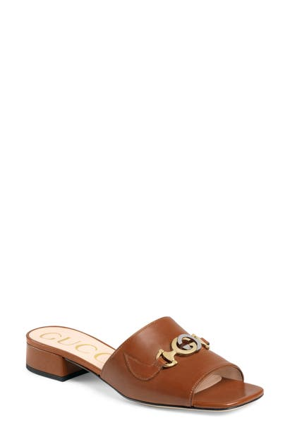 Gucci Zumi 25mm Leather Slide Sandals In Brown Papaya