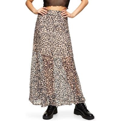 Topshop Leopard Burnout Maxi Skirt, US - Brown