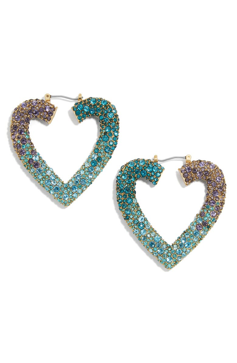 BAUBLEBAR Spectrum Pavé Heart Hoop Earrings, Main, color, BLUE MULTI