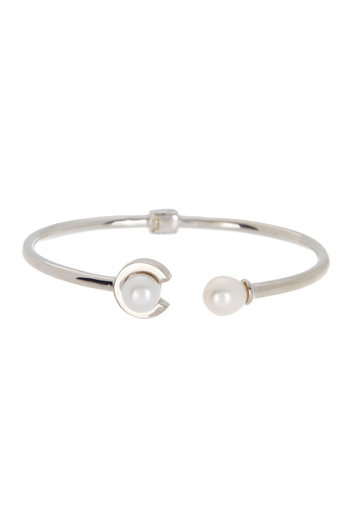 Image of Carolee Silver Pearl Cap Hinged Cuff Bracelet