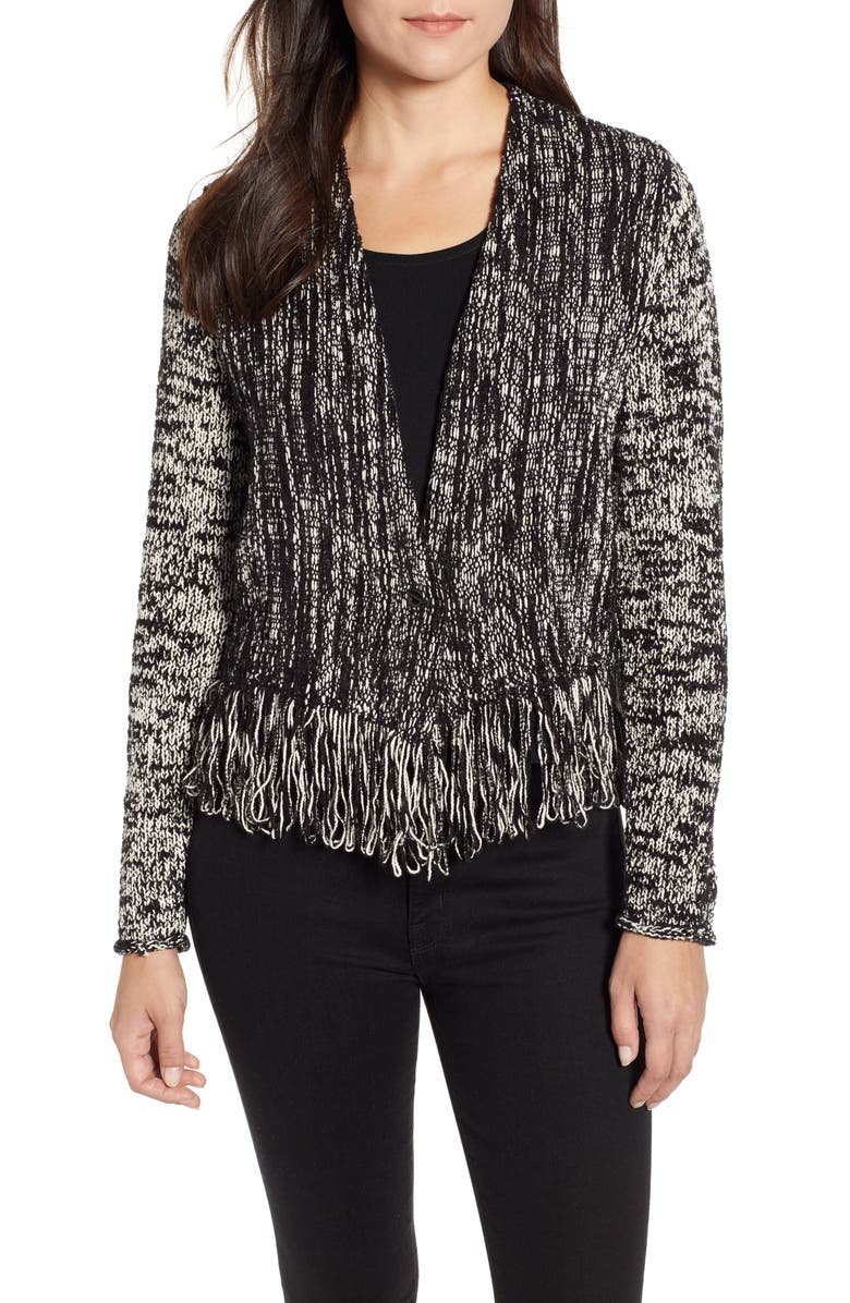 NIC+ZOE Fringe Worthy Jacket, Main, color, BLACK MIX