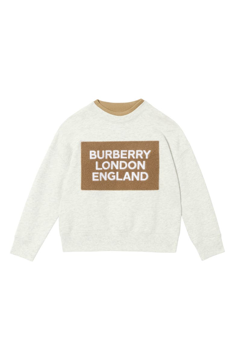 BURBERRY Fabbio Logo Patch Sweatshirt, Main, color, WHITE MELANGE