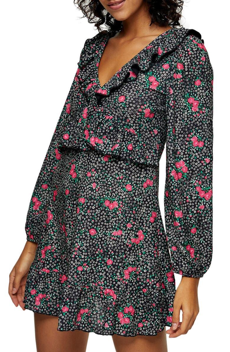 TOPSHOP Double-V Long Sleeve Jersey Minidress, Main, color, MULTI