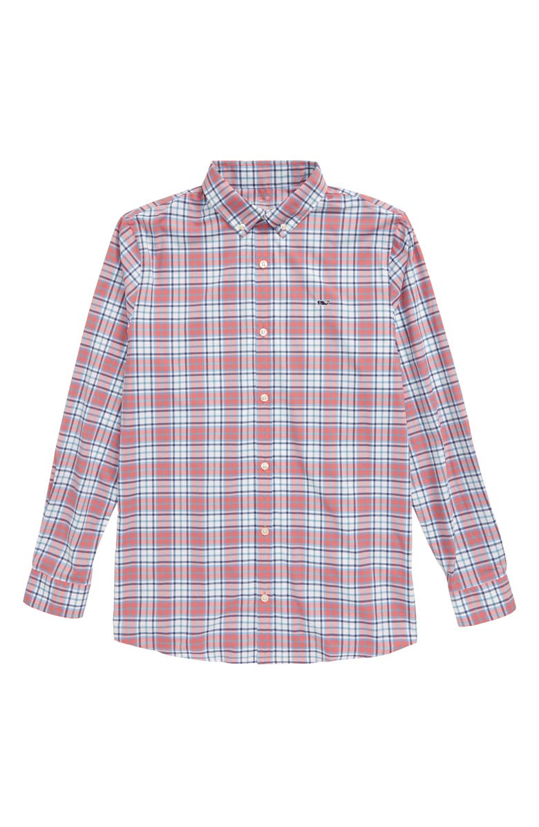 VINEYARD VINES Bluehead Whale Performance Button-Down Shirt, Main, color, LOBSTER REEF