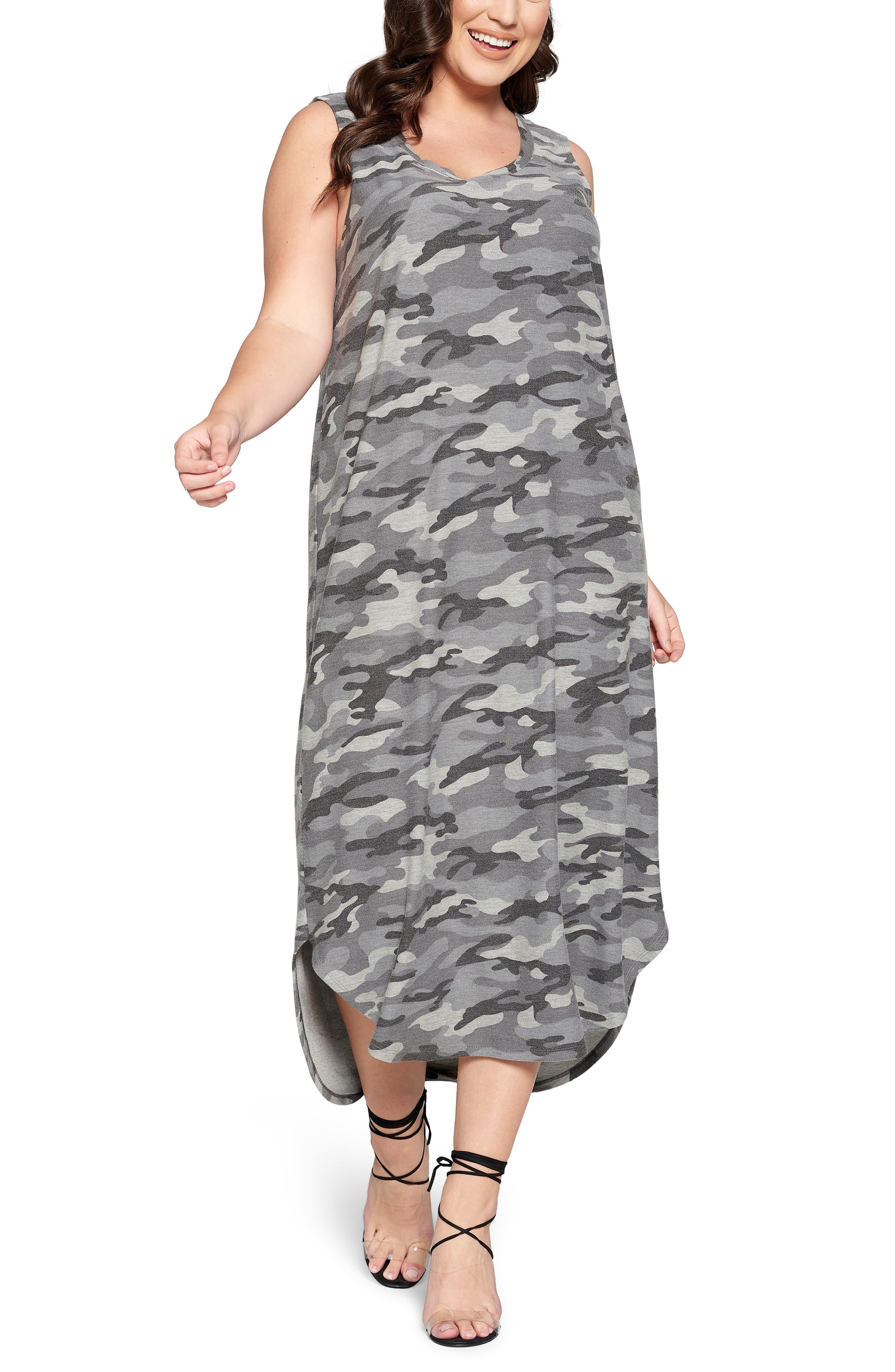 Camo Print Sleeveless Dress