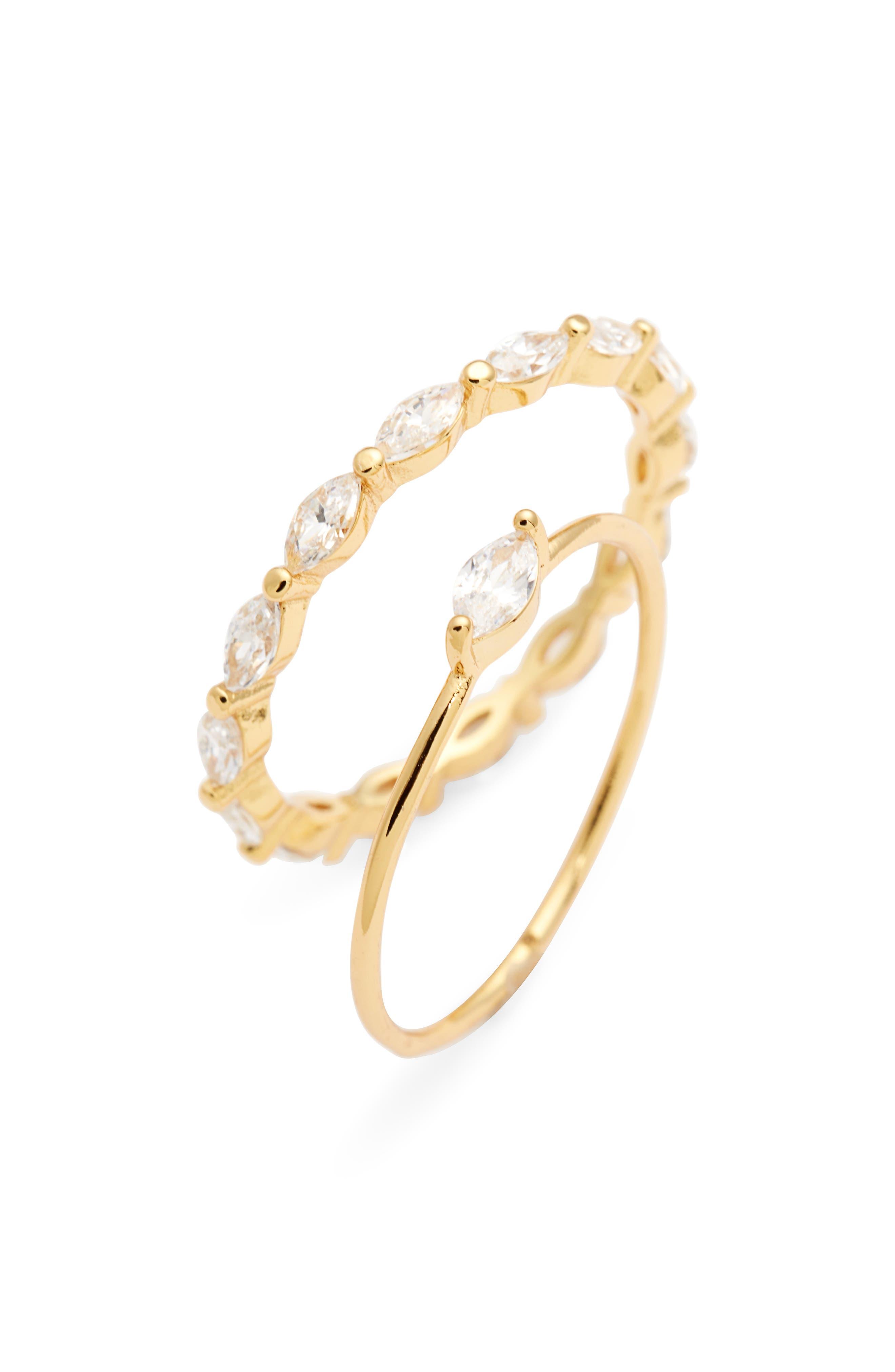 Image of Gorjana Lena 18K Yellow Gold Plated Marquise CZ Ring Set - Set of 2