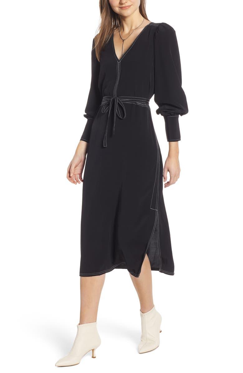 SOMETHING NAVY Side Slit Midi Dress, Main, color, 001