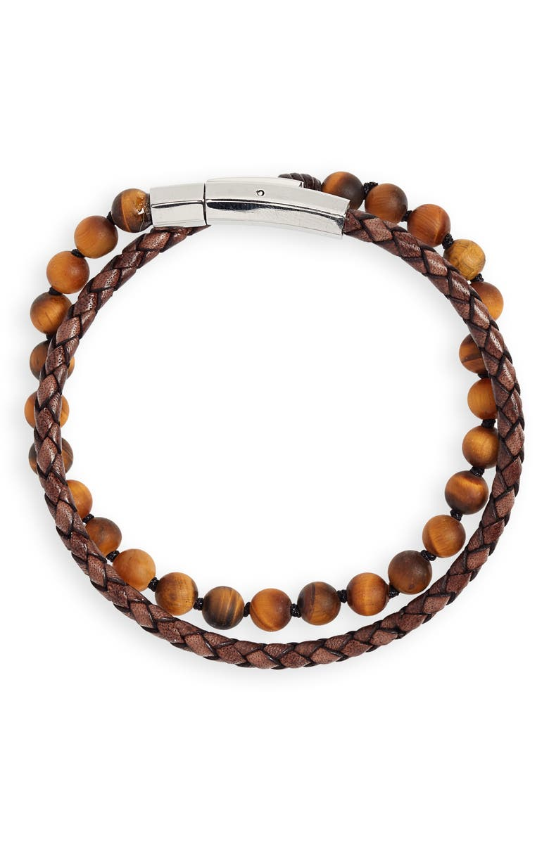 JONAS STUDIO Hand Knotted Tiger's Eye & Leather Bracelet, Main, color, BROWN