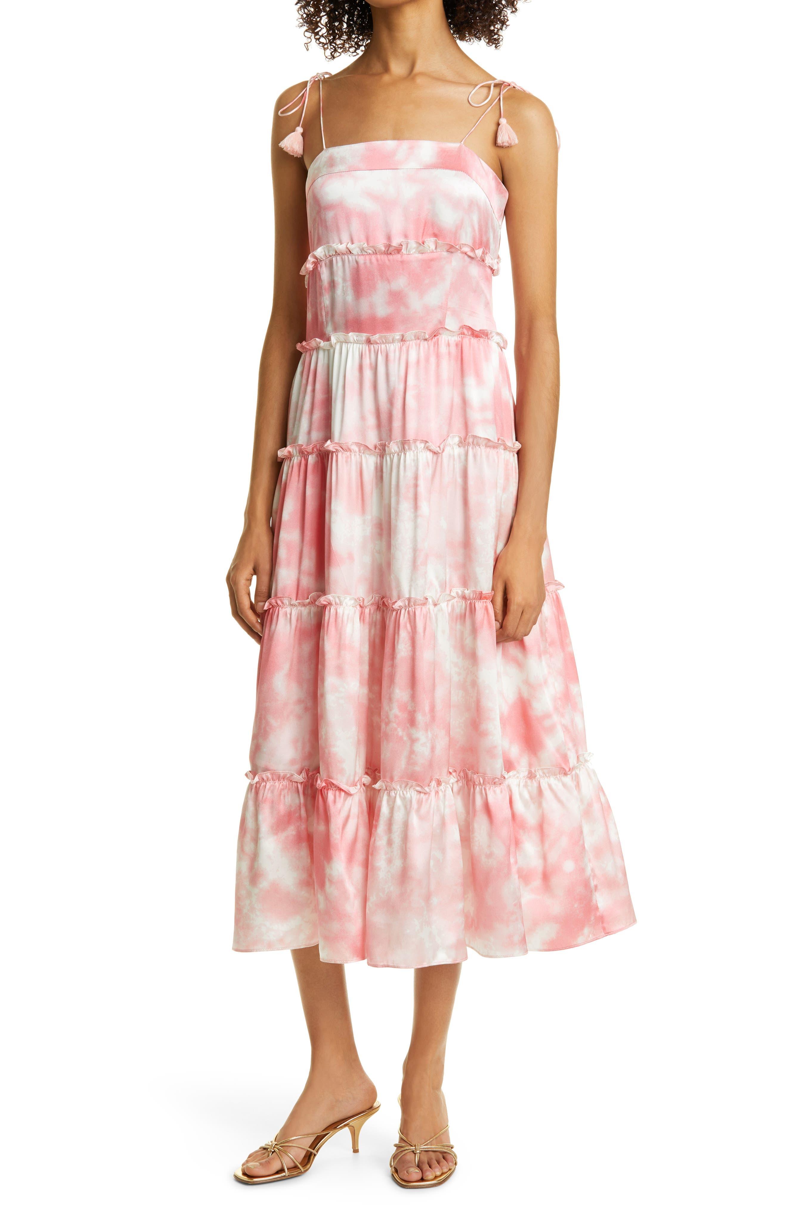 Tie Dye Tiered Silk Satin Dress
