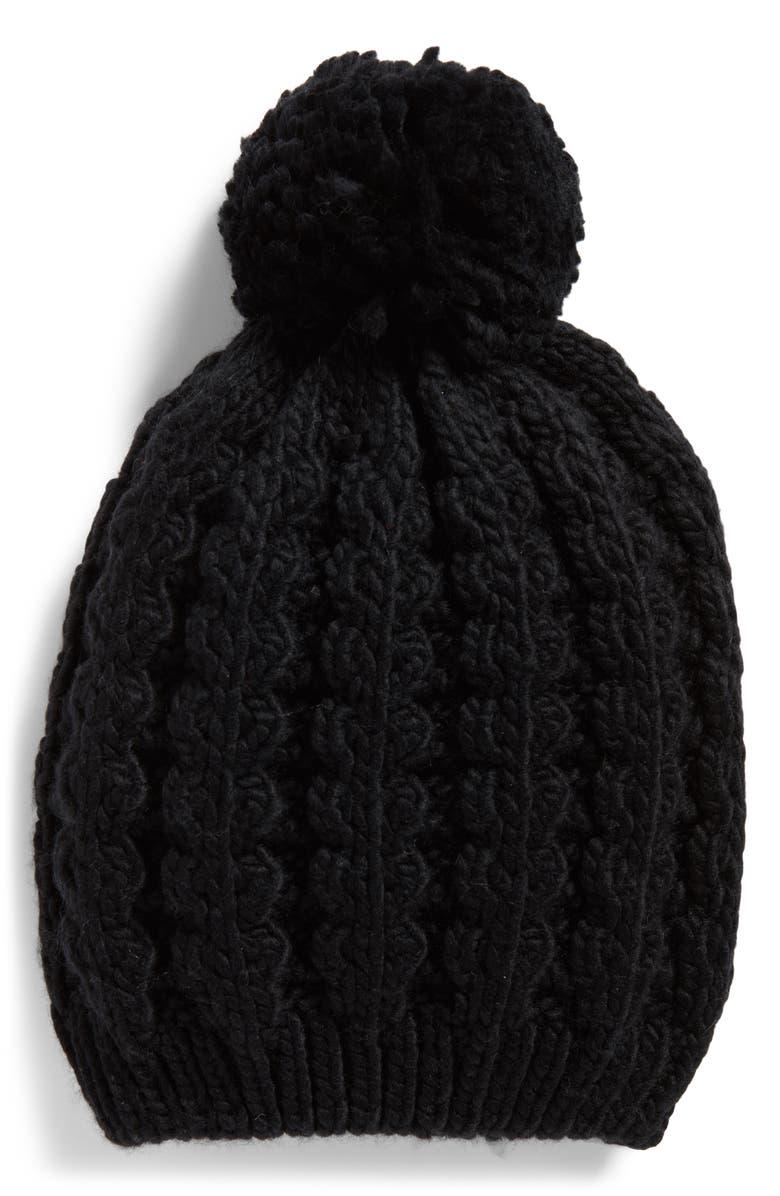 TREASURE & BOND Chunky Knit Pom Beanie, Main, color, 001