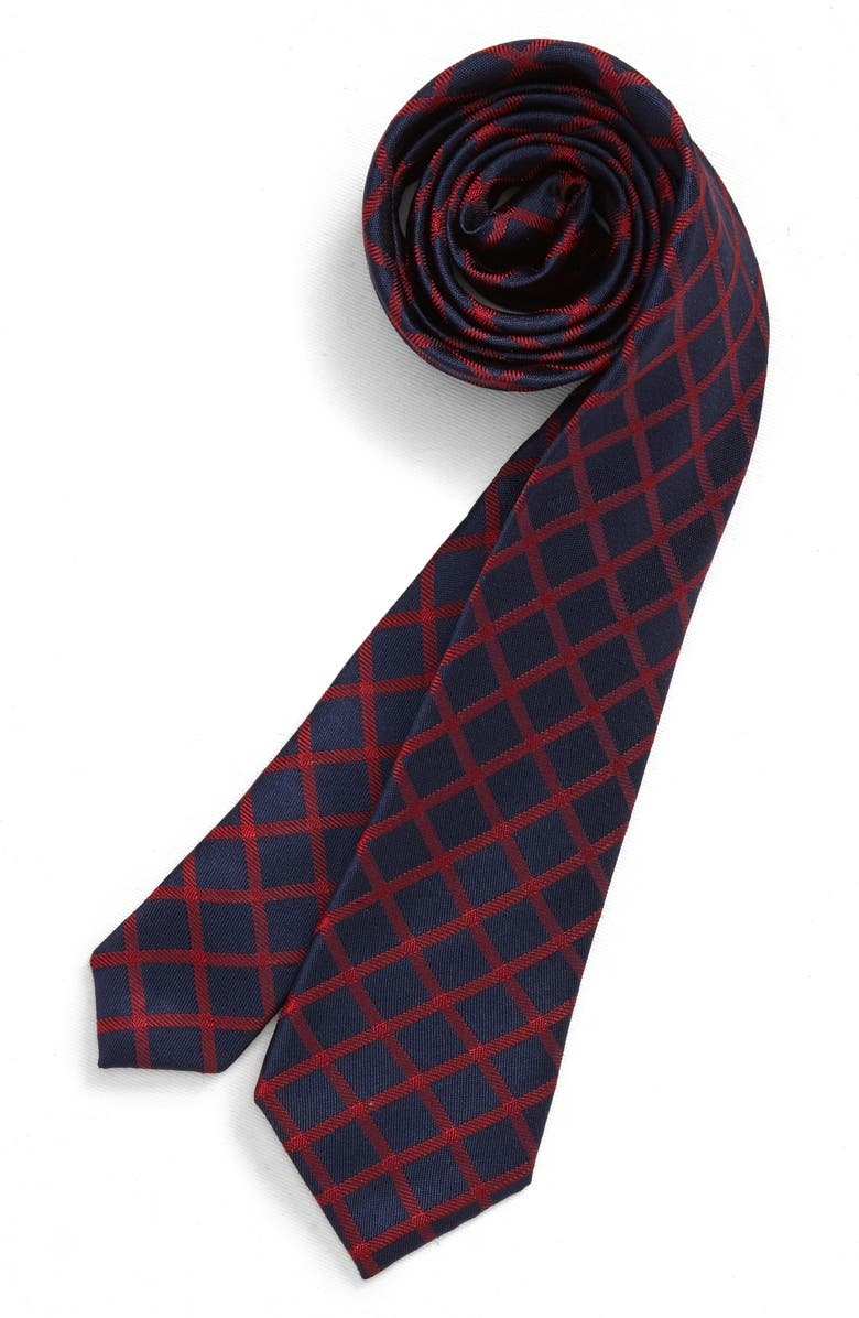NORDSTROM Kenneth Check Silk Tie, Main, color, RED