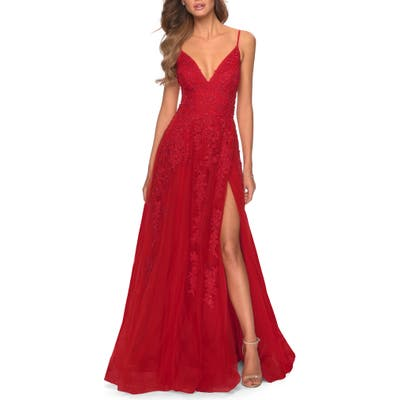 La Femme Sleeveless Strappy Back Gown, Red