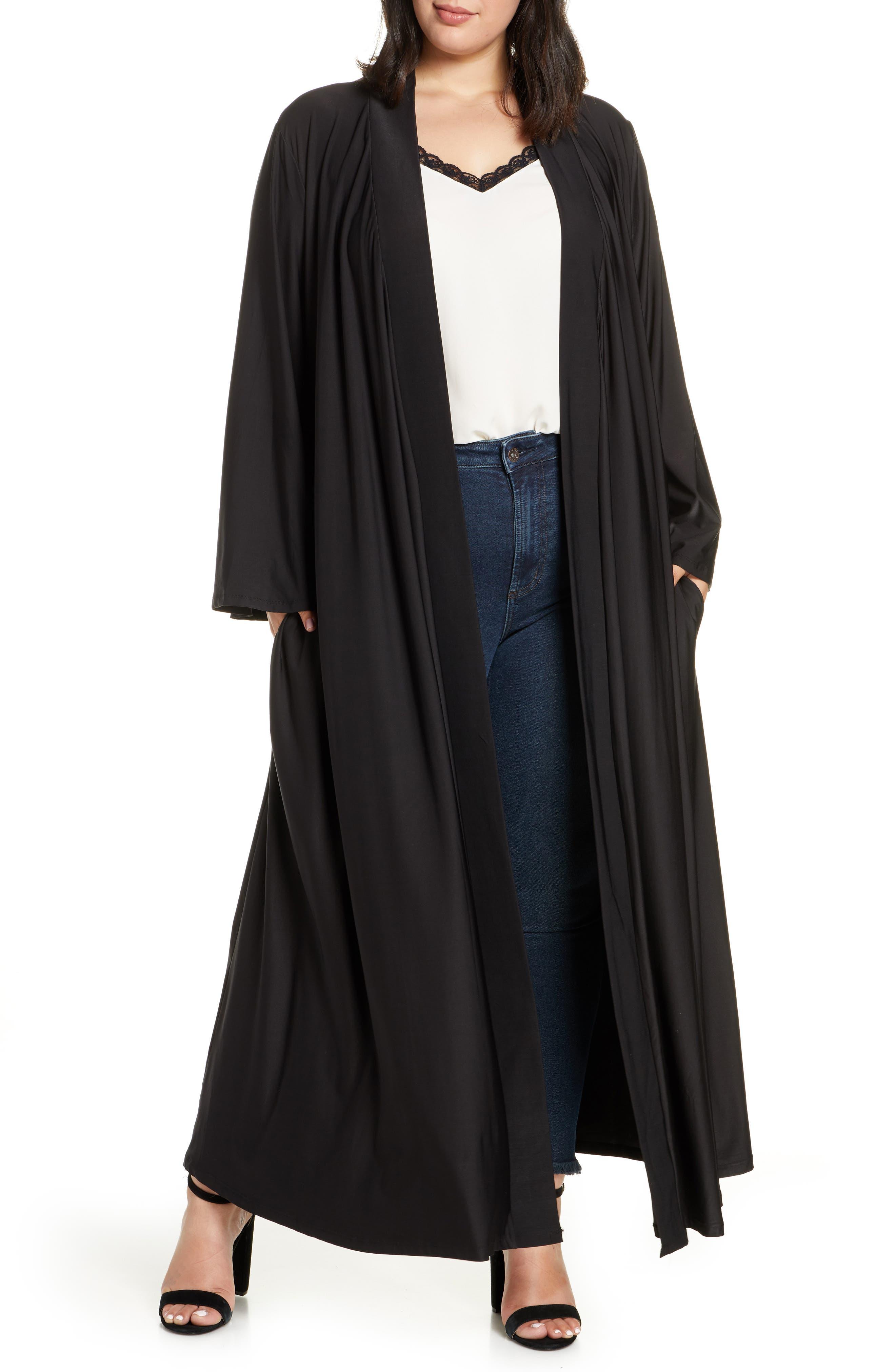 1920s Shawls, Wraps, Scarves, Fur Stoles Plus Size Womens Coldesina Dylan Belted Duster Size XL1X - Black $98.00 AT vintagedancer.com