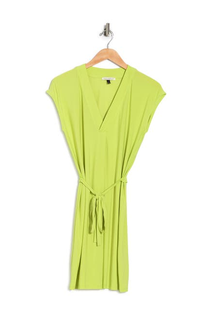 Image of TASH + SOPHIE V-Neck Short Sleeve Tie Waist Shift Dress