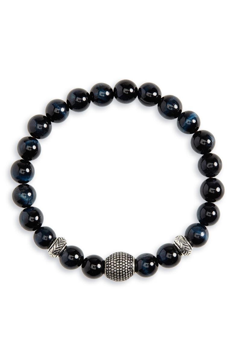 NORDSTROM MEN'S SHOP Beaded Bracelet, Main, color, BLACK/ SILVER