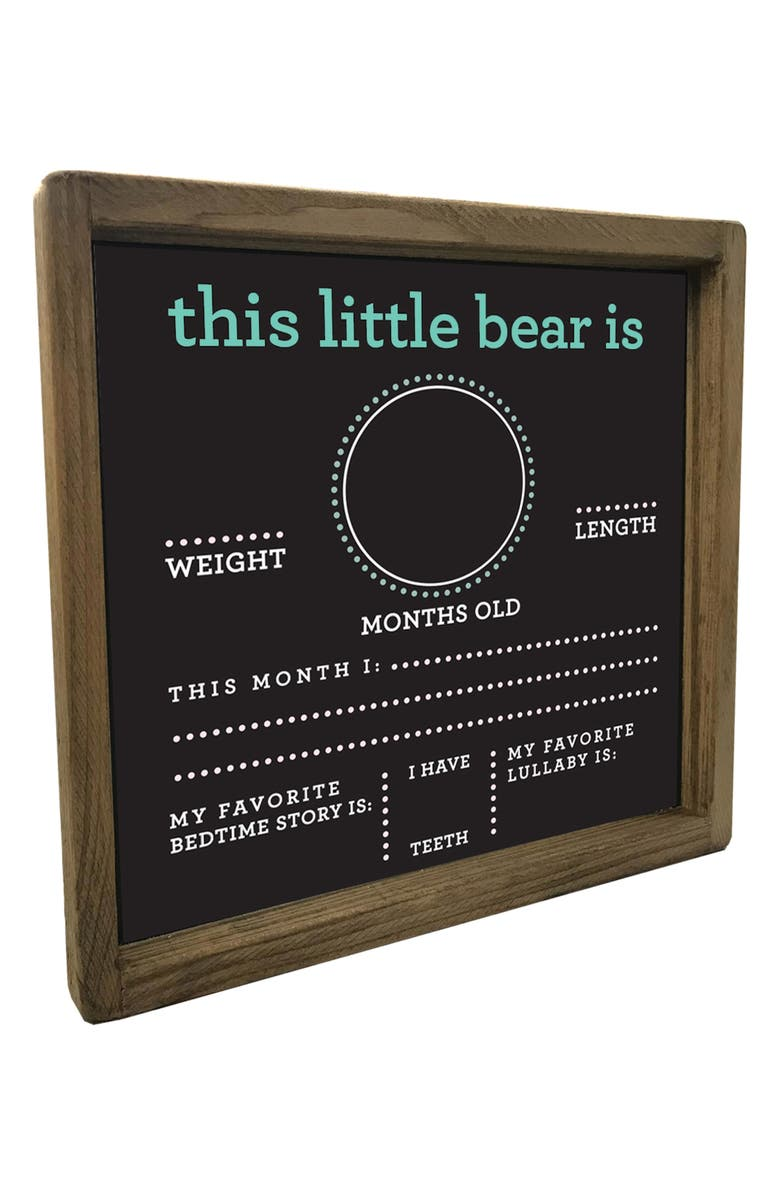 RUSTIC MARLIN Little Bear Shadow Box Milestone Chalkboard, Main, color, CHALKBOARD