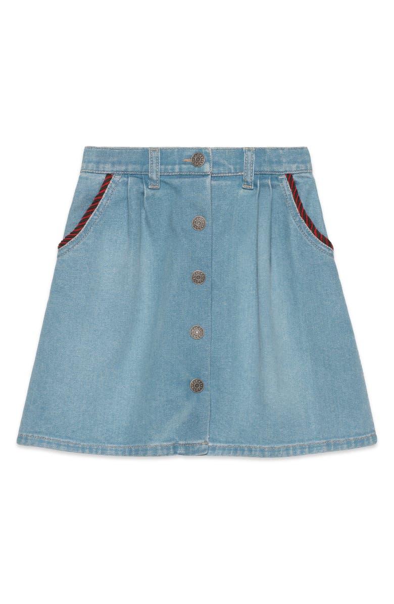 GUCCI Stretch Denim Skirt, Main, color, LIGHT BLUE MULTI