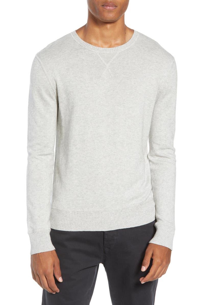 LIFE/AFTER/DENIM Tournament Regular Fit Crewneck Sweater, Main, color, HEATHER GREY