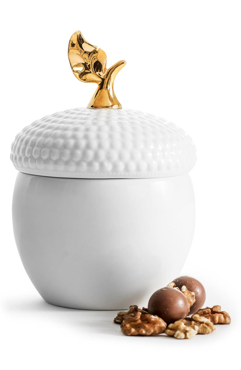 SAGAFORM Acorn Storage Jar, Main, color, WHITE/ GOLD