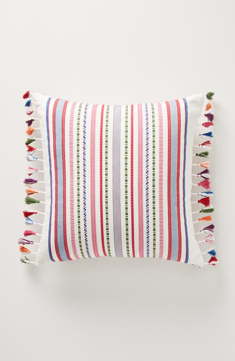 ANTHROPOLOGIE Rosado Stripe Tassel Accent Pillow, Main, color, MULTI