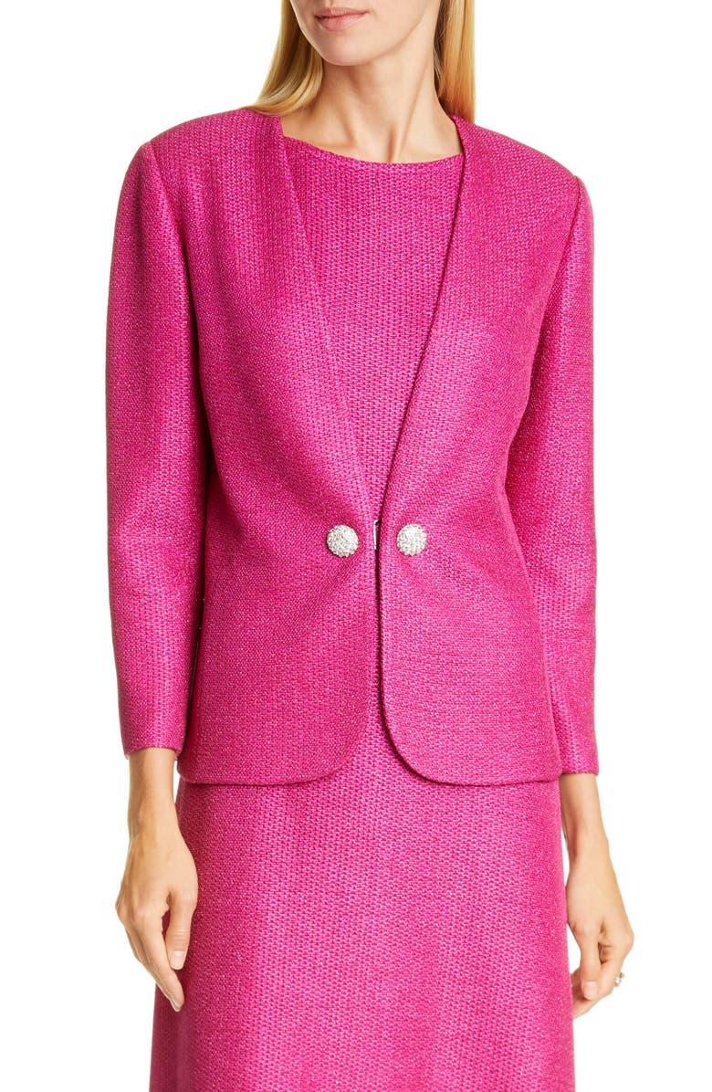 ST. JOHN EVENING Textured Metallic Inlay Knit Jacket, Main, color, FUCHSIA ROSE