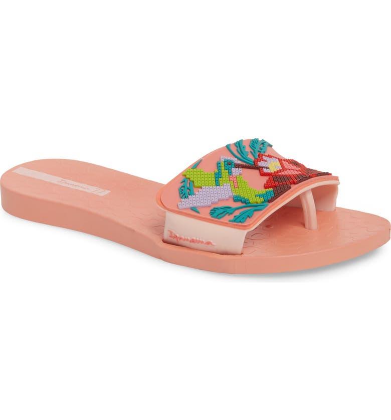 IPANEMA Nectar Floral Slide Sandal, Main, color, ORANGE/ PINK
