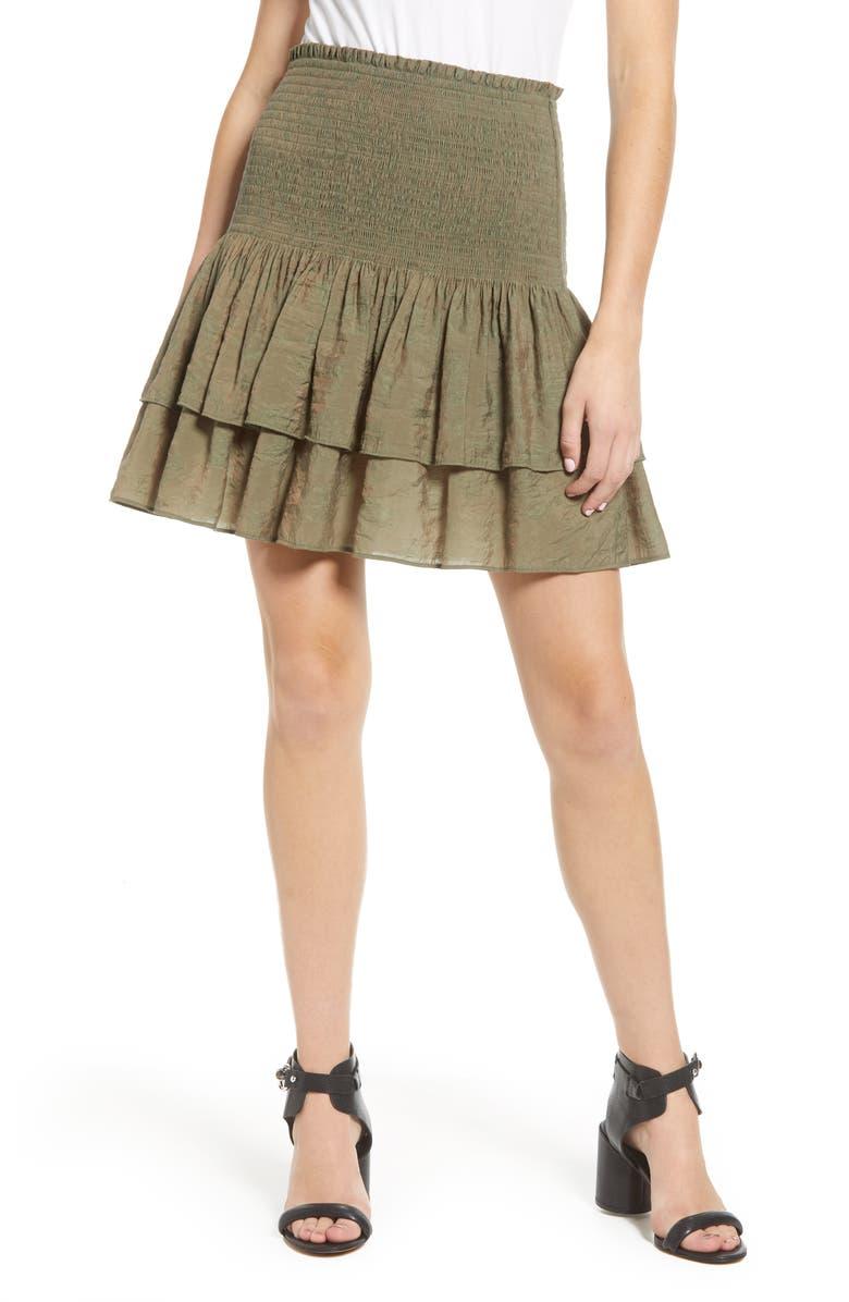 REBECCA MINKOFF Amari Smocked Tiered Ruffle Skirt, Main, color, 300
