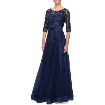 La Femme Embellished Lace A-Line Gown, Blue
