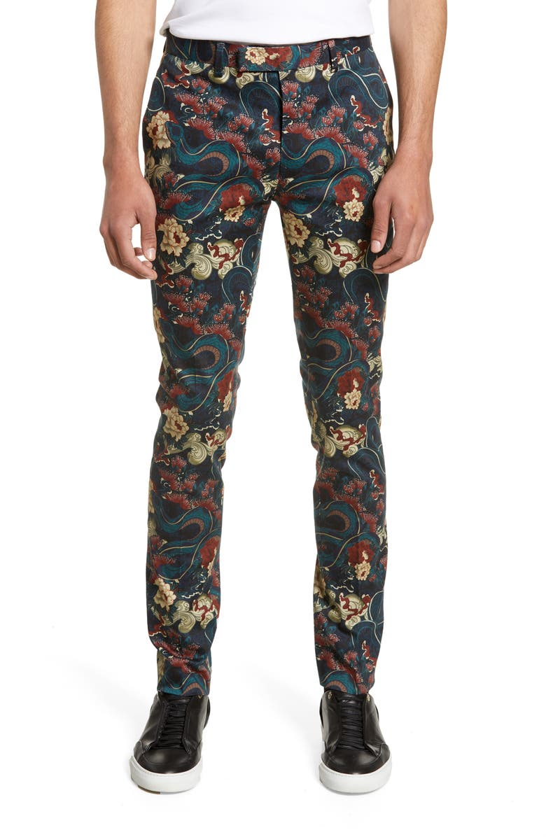 TOPMAN Stretch Skinny Fit Japan Print Suit Trousers, Main, color, 001