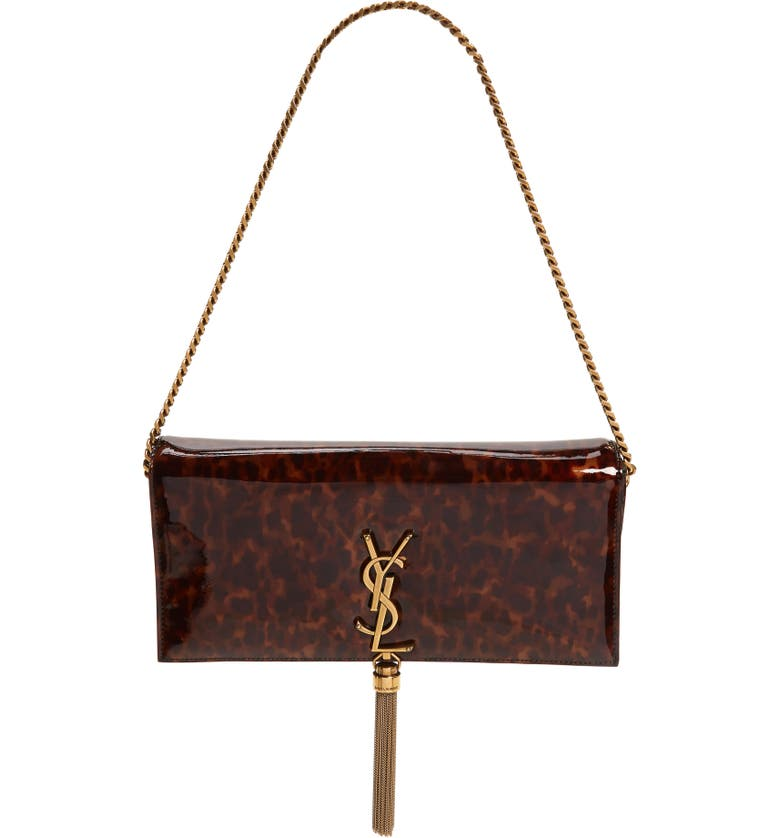 SAINT LAURENT Kate Calfskin Baguette Shoulder Bag, Main, color, TORTOISE BROWN