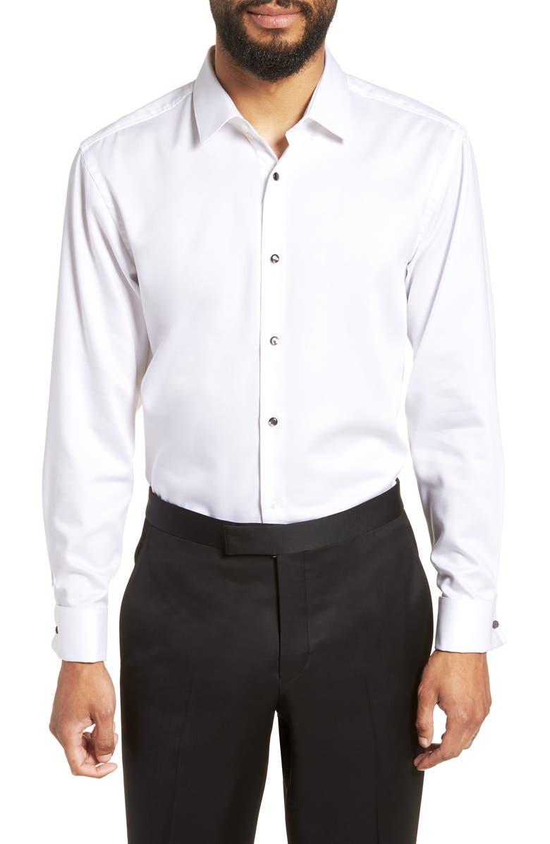 BOSS Jasper Slim Fit Tuxedo Shirt, Main, color, WHITE