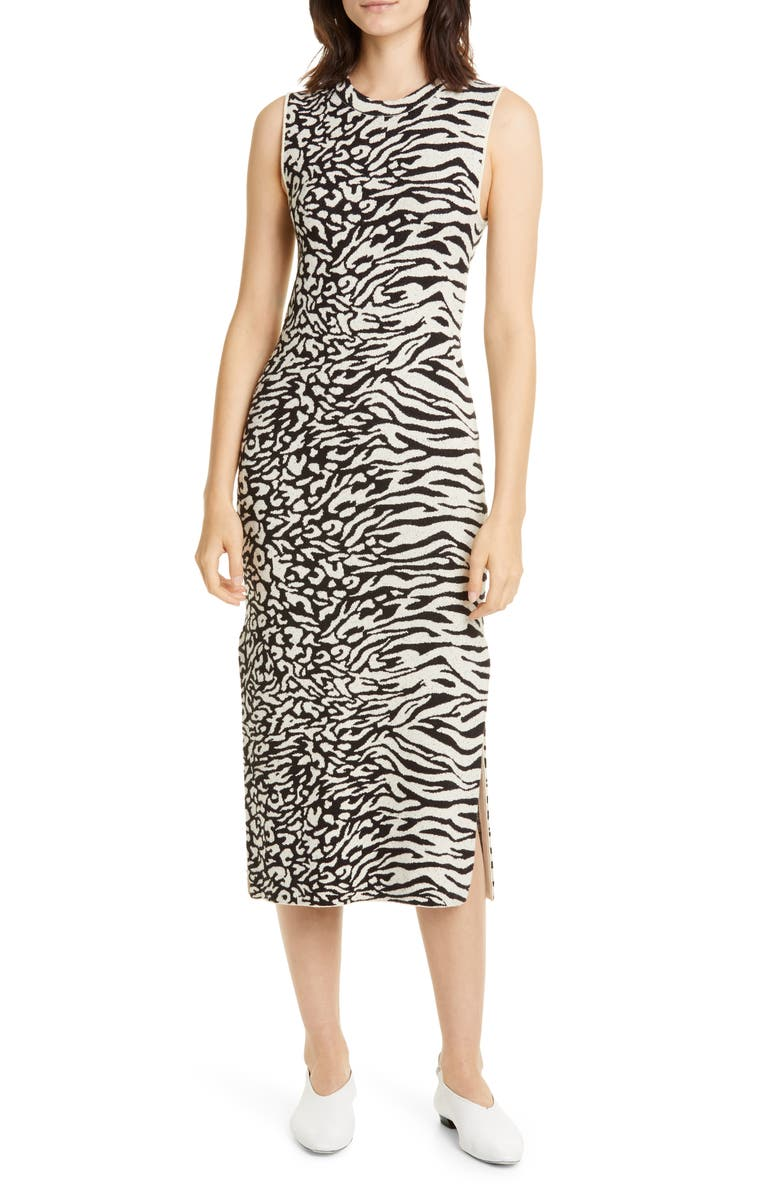 PROENZA SCHOULER WHITE LABEL Zebra & Leopard Jacquard Midi Dress, Main, color, ECRU/ BLACK