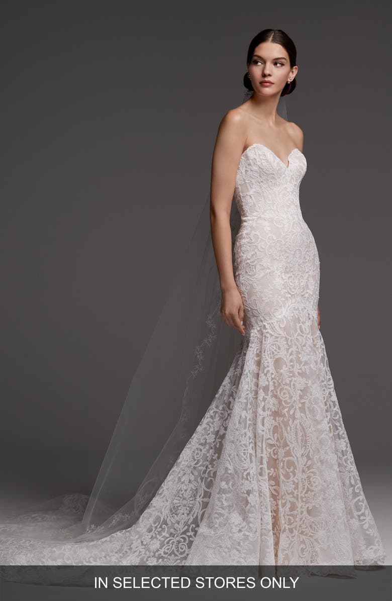 WATTERS Medici Strapless Lace Mermaid Wedding Dress, Main, color, 900