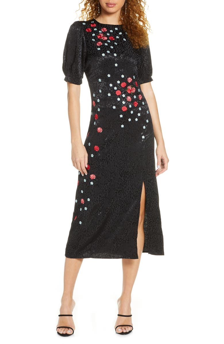 FOXIEDOX Blythe Embroidered Midi Dress, Main, color, BLACK MULTI