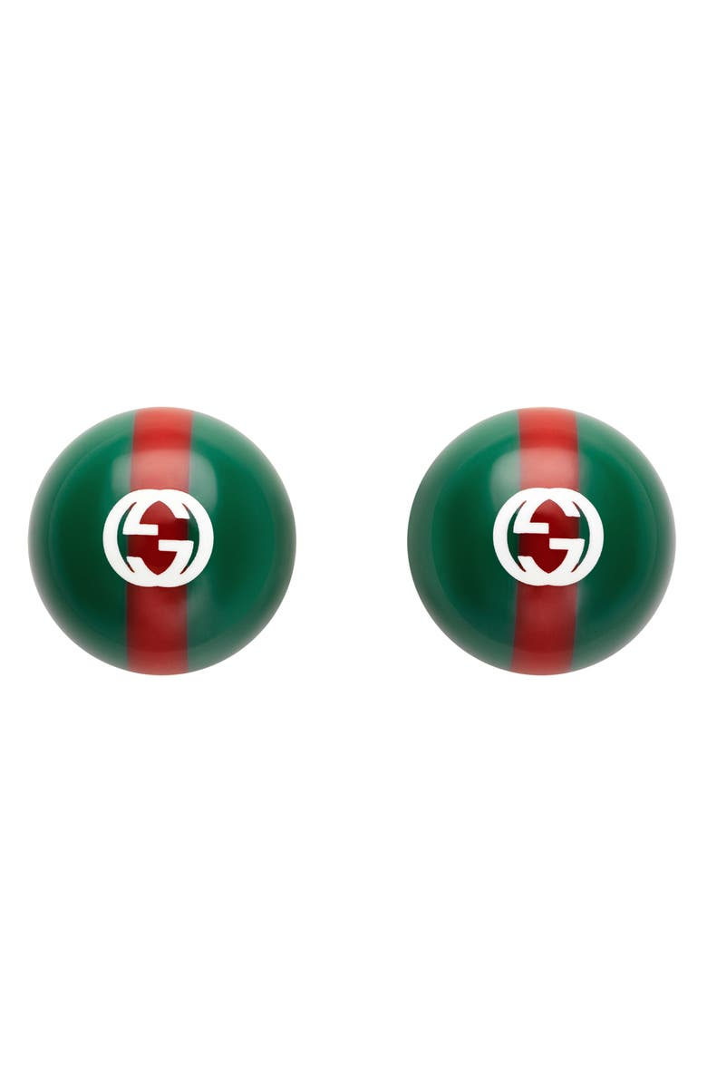 GUCCI Stripe Stud Earrings, Main, color, GREEN/ RED