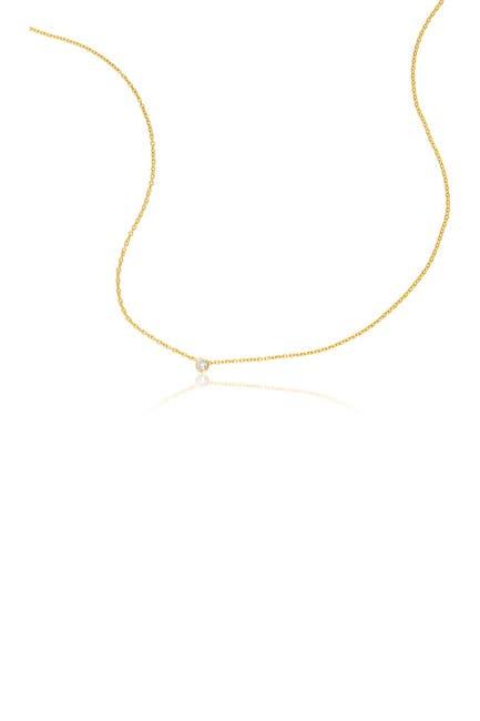 Image of ADORNIA Fine 14K Yellow Gold Floating Bezel Set Diamond Pendant Necklace - 0.05 ctw