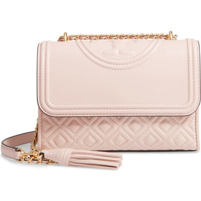 Tory Burch Small Fleming Leather Convertible Shoulder Bag - Pink
