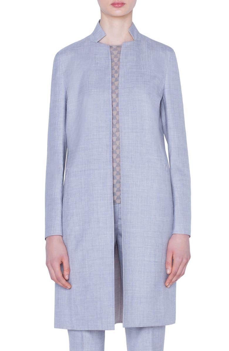 AKRIS Reversible Double Face Wool & Silk Jacket, Main, color, 814-SILVER-BIRCH